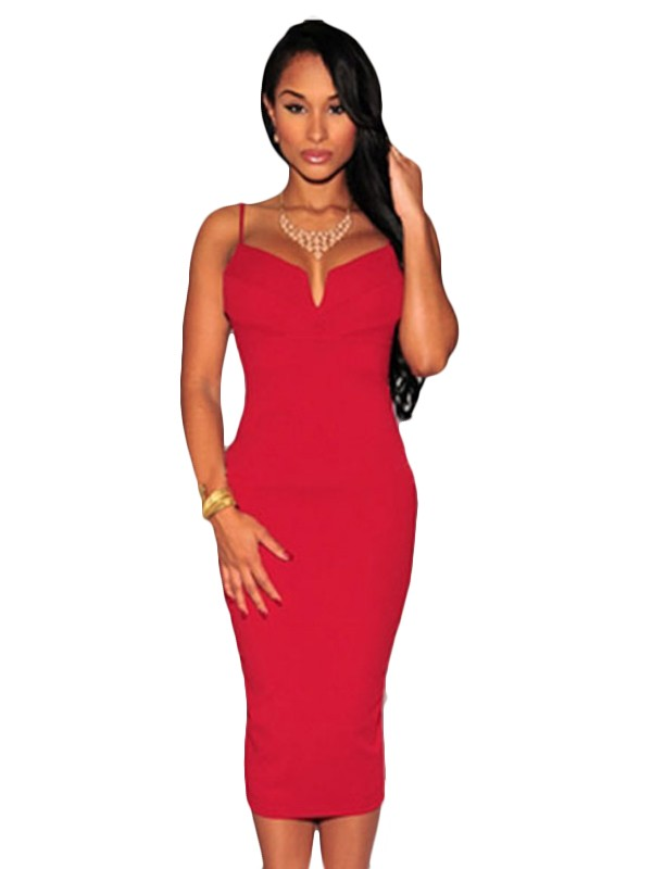 red-plunging-v-neck-midi-dress-lc60017-3